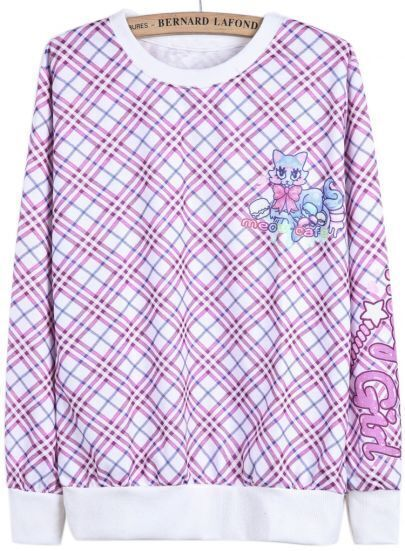 Purple Long Sleeve Plaid Cat Print Sweatshirt