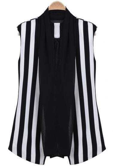 Black White Vertical Stripe Contrast Mesh Yoke Vest