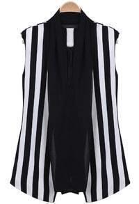 Black White Vertical Stripe Contrast Mesh Yoke Vest