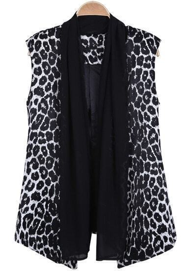 Black White Leopard Contrast Mesh Yoke Vest