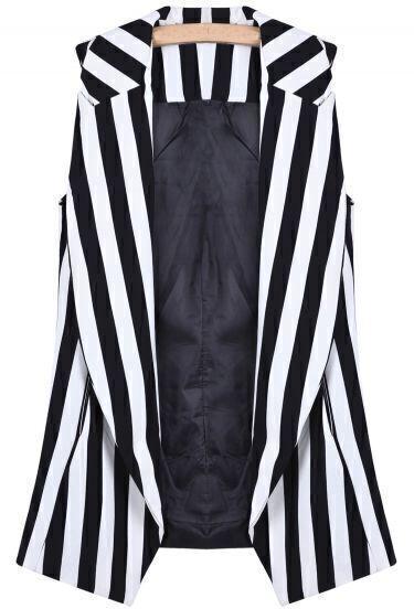 Black White Vertical Stripe Shoulder Pads Vest
