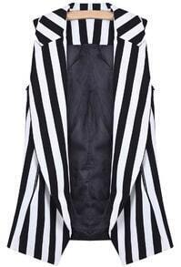 Black White Vertical Stripe Shoulder Pads Vest