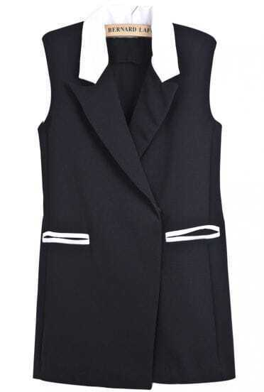 Black Contrast Lapel Sleeveless Shoulder Pads Vest