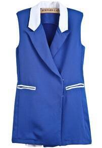 Blue Contrast Lapel Sleeveless Shoulder Pads Vest