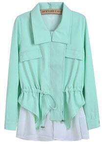 Green Lapel Long Sleeve Contrast White Drawstring Coat