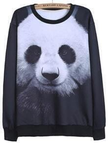 Black Long Sleeve Panda Print Loose Sweatshirt