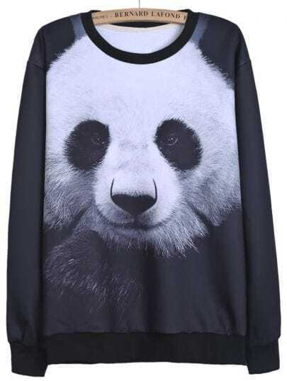 Black Long Sleeve Panda Print Loose Sweatshirt