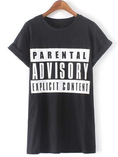 Black Short Sleeve Letters Print T-Shirt