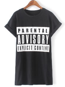 Black Short Sleeve Letters Print T-Shirt