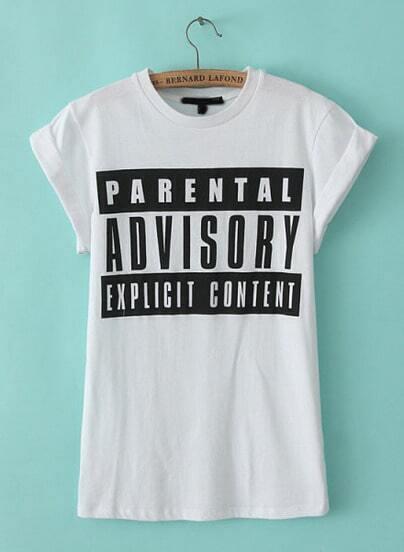 White Short Sleeve Letters Print T-Shirt