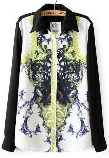 Black Lapel Long Sleeve Floral Chiffon Blouse