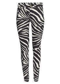 Black White Zebra Print Slim Pant