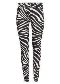 Pantalon en jean à motif zèbre