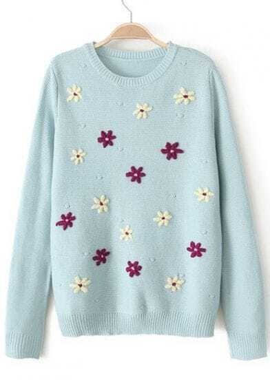 Light Blue Long Sleeve Embroidered Loose Sweater