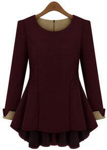 Wine Red Long Sleeve Ruffle Slim Blouse