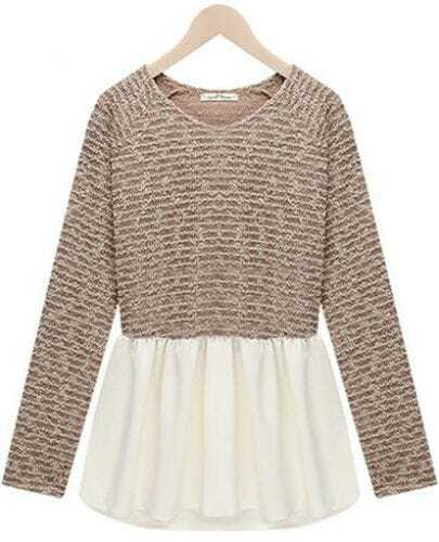 Khaki Long Sleeve Contrast White Ruffle Knit Dress
