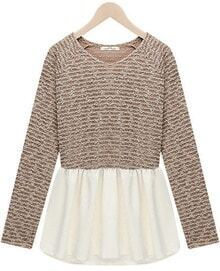 Khaki Long Sleeve Contrast White Ruffle Knit Dress