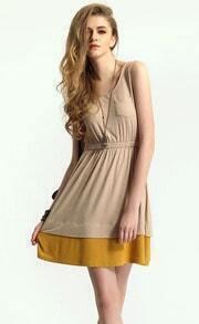 Apricot Short Sleeve Pocket Elastic Waist Dress