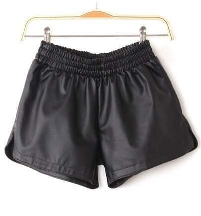 Black PU Leather Elastic Waist Pant