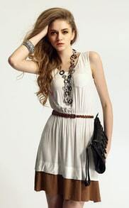 White Short Sleeve Pocket Elastic Waist Dress