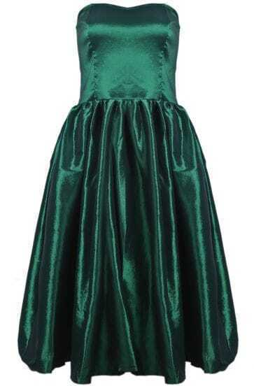 Green Strapless Flare Pleated Dress