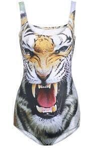 White Backless Tiger Print Swimwear
