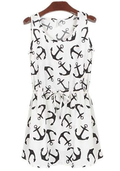 White Sleeveless Anchors Print Pleated Dress