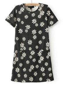 Dark Grey Short Sleeve Floral Mini Dress