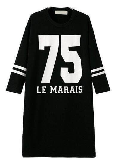 Schwarzes lockeres Langarm Print-Kleid mit 75