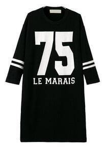 Black Long Sleeve Letters 75 Print Loose Dress