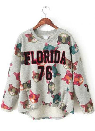 Grey Long Sleeve Cats FLORIDA 76 Print Sweatshirt