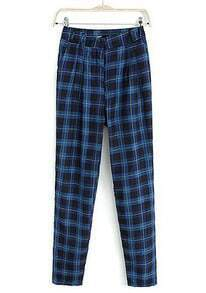 Blue High Waist Casual Plaid Pant