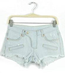 Light Blue Pockets Ripped Fringe Denim Shorts
