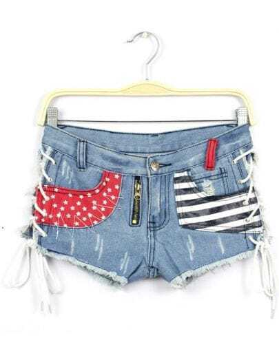 Blue Striped Stars Print Bandage Denim Shorts