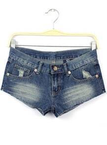 Blue Bleached Ripped Stars Print Denim Shorts