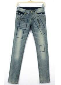 Blue Vintage Bleached Slim Denim Pant
