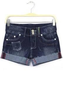 Navy Bleached Pockets Flange Denim Shorts
