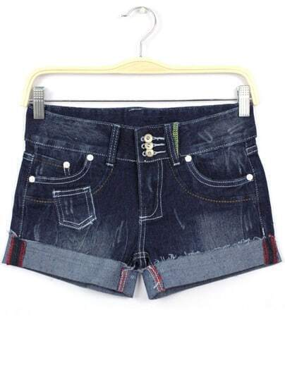 Navy Bleached Pockets Flange Denim Shorts