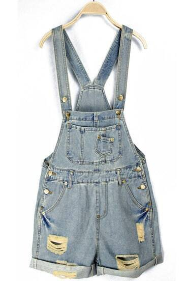 Jumpsuits Denim bolsillos-azul