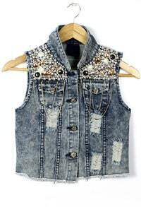 Blue Sleeveless Bead Ripped Denim Vest