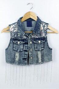 Blue Lapel Sleeveless Bead Tassel Crop Vest