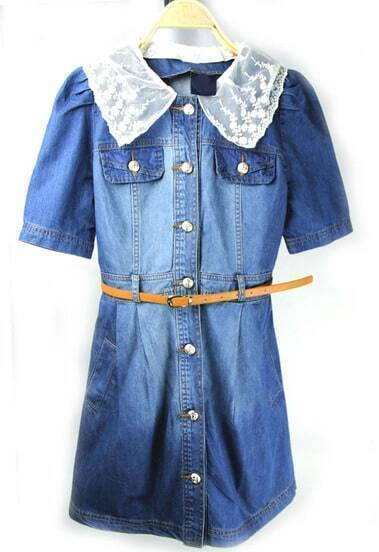Blue Contrast Lapel Bleached Denim Dress