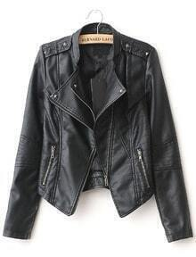 Black Lapel Rivet Zip Pocket PU Leather Jacket