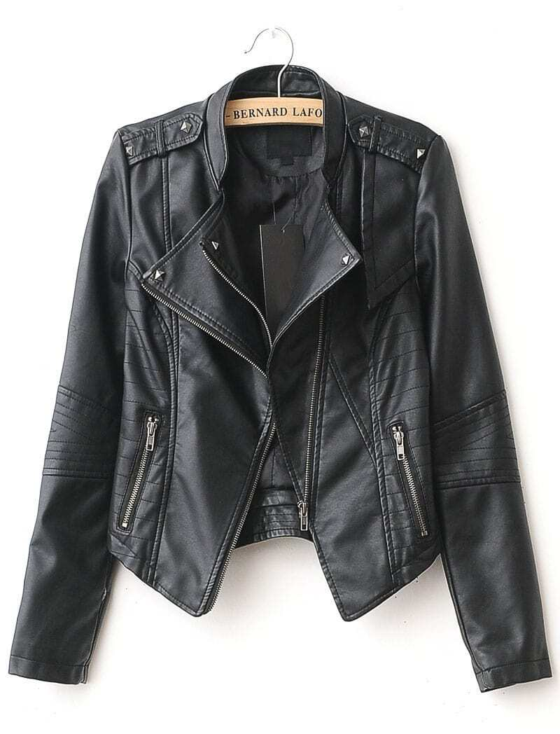 Black Lapel Rivet Zip Pocket PU Leather Jacket -SheIn(Sheinside)