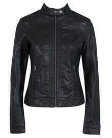 Black Long Sleeve Stand Collar Zip PU Leather Jacket