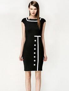 Black Short Sleeve Contrast White Button Dress