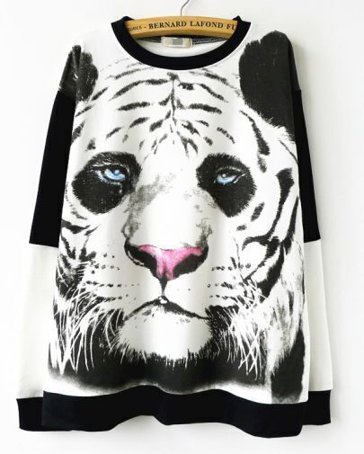 White Contrast Black Tiger Pattern Sweatshirt
