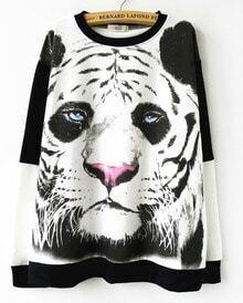 White Contrast Black Tiger Pattern Sweatshirt