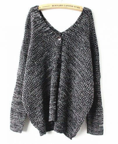 Black Long Sleeve V Neck Button Sweater