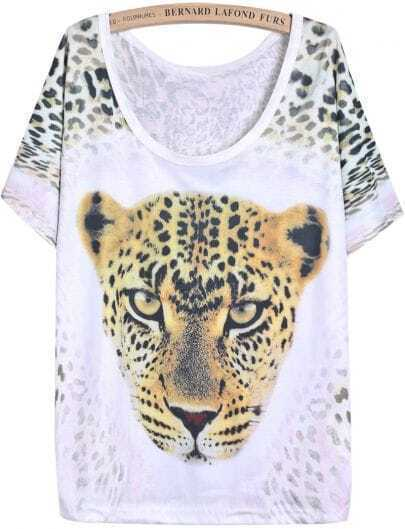 White Short Sleeve Leopard Print Loose T-Shirt